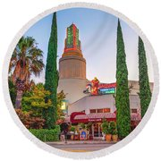 Round Beach Towel featuring the photograph Tower Cafe Sunset- by JD Mims