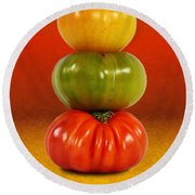 Tower Of Colorful Tomatoes Round Beach Towel