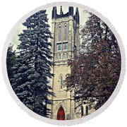 Tower Of Grace Round Beach Towel