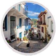 Town Of Skopelos Round Beach Towel
