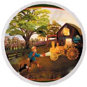 Tractor And Barn Round Beach Towel