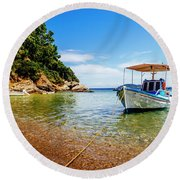 Traditional Colorful Boats In Old Town Of Skiathos Island, Spora Round Beach Towel