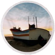Traditional Wooden Fishing Boat Round Beach Towel