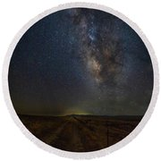 Round Beach Towel featuring the photograph Trails End by Tim Bryan