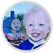 Round Beach Towel featuring the painting Train by Kevin Daly