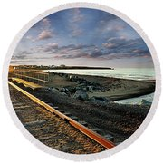 Train Tracks By The Ocean Round Beach Towel
