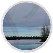 Tranquil Arctic River Round Beach Towel