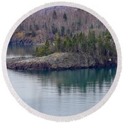 Tranquility In Silver Bay Round Beach Towel