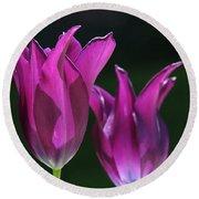 Translucent Tulips Round Beach Towel