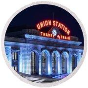 Travel By Train - Denver Union Station #2 Round Beach Towel