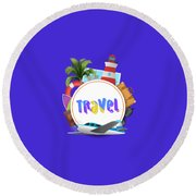 Travel World Round Beach Towel