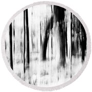 Round Beach Towel featuring the photograph Tree Abstract In Black And White by Angie Tirado