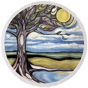 Tree Comes Alive Round Beach Towel