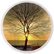 Round Beach Towel featuring the photograph Tree Framed Sunrise New Hampshire by Nathan Bush