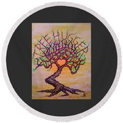 Round Beach Towel featuring the drawing Tree Hugger Love Tree W/ Foliage by Aaron Bombalicki