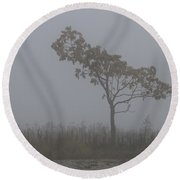 Round Beach Towel featuring the photograph Tree In Fog by William Selander