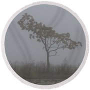 Tree In Fog Round Beach Towel