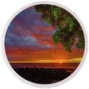 Tree  Sea And Sun Round Beach Towel