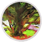 Tree With The Open Arms Round Beach Towel