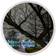 Trees And Lights Round Beach Towel
