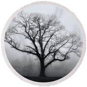 Trees In Fog # 2 Round Beach Towel