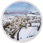 Tregaron Village, Mid Wales, In The Snow Round Beach Towel