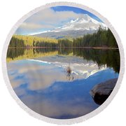 Trillium Lake Morning Reflections Round Beach Towel