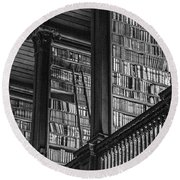 Trinity College Library Black And White  Round Beach Towel