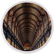 Trinity College Library In Dublin  Round Beach Towel