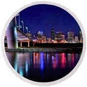 Trinity River Night View Of Dallas Round Beach Towel