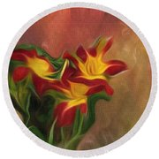 Trio Of Day Lilies Round Beach Towel