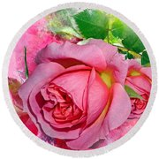 Trio Of Pink Roses Round Beach Towel