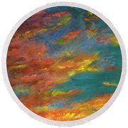 Triptych 1 Desert Sunset Round Beach Towel