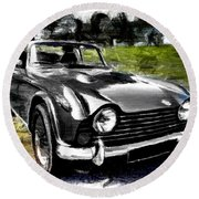 Triumph Tr5 Monochrome With Brushstrokes Round Beach Towel