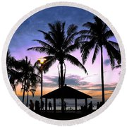 Tropical Beach Scene After Sunset Round Beach Towel