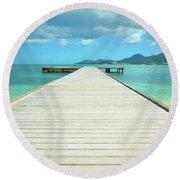Tropical Caribbean Dock - St. Maarten Round Beach Towel