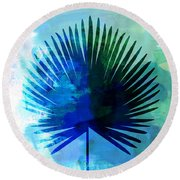 Tropical Chamaerops Leaf Watercolor Round Beach Towel