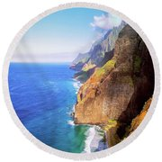 Round Beach Towel featuring the digital art Tropical Coastline Hawaii Aerial Photograph Of The Isolated Napali Coast by OLena Art Brand