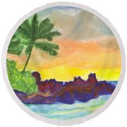 Tropical Island In The Ocean Round Beach Towel
