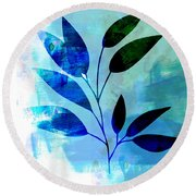 Tropical Leaf Watercolor II Round Beach Towel