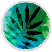 Tropical Leaf Watercolor  Round Beach Towel