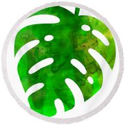 Tropical Monstera Leaf Round Beach Towel