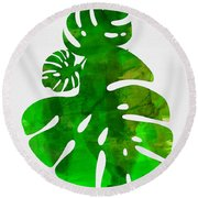 Tropical Monstera Leafs Round Beach Towel