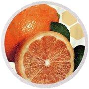 Tropical Print - Orange, Grapefruit, Tangerine - Modern Wall Art Print - Tropical Poster Round Beach Towel