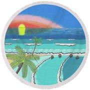 Tropical Sunrise Round Beach Towel