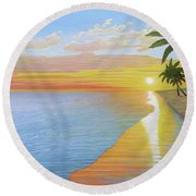 Round Beach Towel featuring the painting Tropical Sunset by Kenneth M Kirsch