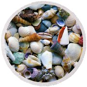 Round Beach Towel featuring the photograph Tropical Treasure Seashells A91218 by Mas Art Studio