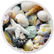 Round Beach Towel featuring the photograph Tropical Treasure Seashells B91218 by Mas Art Studio