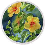 Tropical Yellow Orange Hibiscus With Background Round Beach Towel