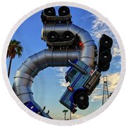 Round Beach Towel featuring the photograph Truckin' by Skip Hunt